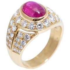 Bulgari Cabochon Burma Ruby Diamond Gold Ring