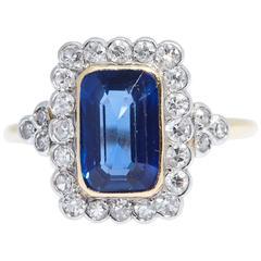 Burma Emerald Cut Blue Sapphire Diamond Gold Ring