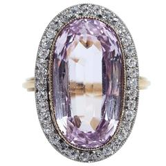 Edwardian Pink Topaz Diamond Ring