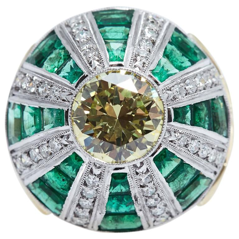 Fancy Yellow GIA 2.62 Carats Platinum Gold Diamond Emerald Ring