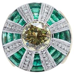 Fancy Yellow GIA 2.62 Carat Platinum Gold Diamond Emerald Ring