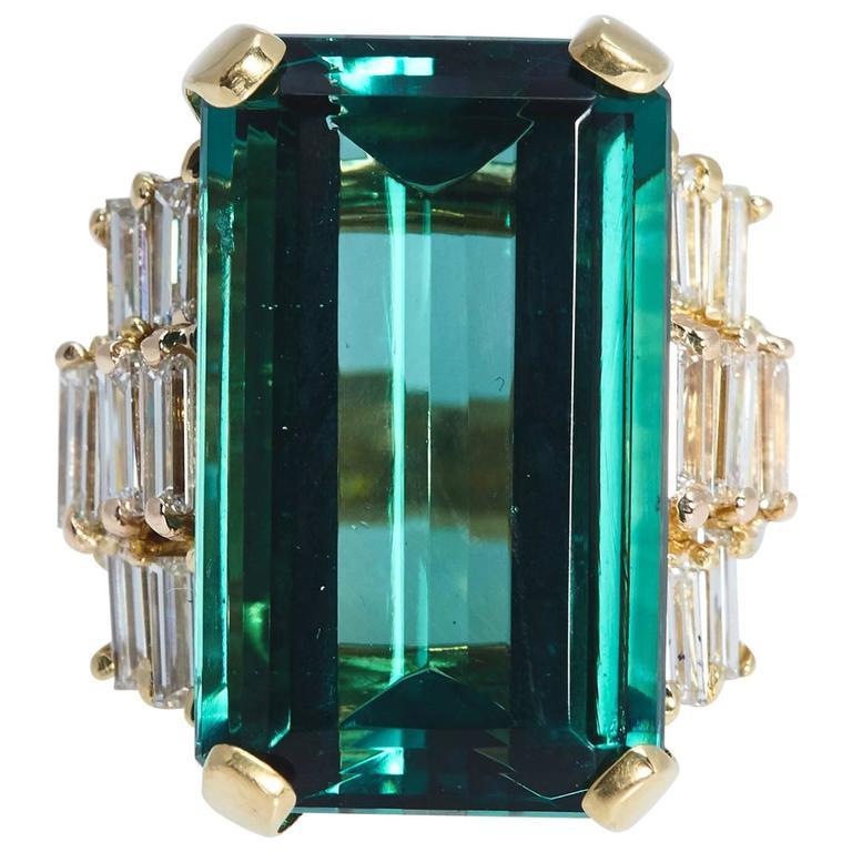 Emerald Cut Tourmaline 22.98 Carat Diamond Gold Ring