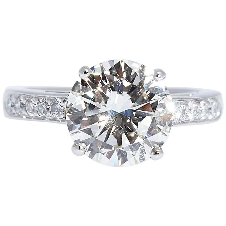 3.01 Carat Round Diamond Engagement Ring GIA I Color VS2 Clarity