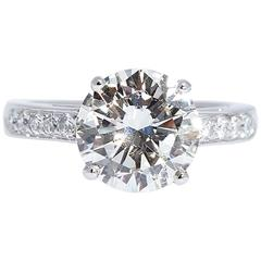 3.32 Carat Round Diamond Engagement Ring