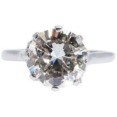 Diamond Platinum Engagement Ring 3.95 Carats