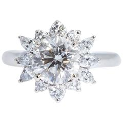 2.01 Carats Center Diamond Round Marquise Gold Ring