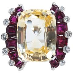 Oscar Heyman Natural Yellow Cushion Shaped Sapphire Ruby Diamond Platinum Ring