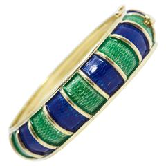 Cellino Blue and Green Enamel Gold Bangle Bracelet