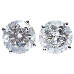 Round Diamond Gold Earrings 5.42 Carat