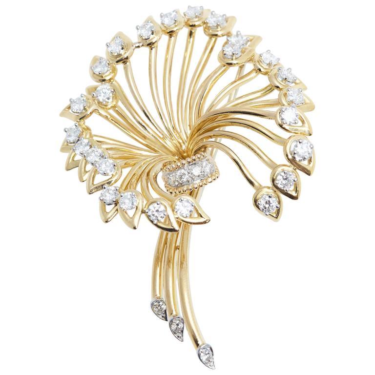 Cartier Diamond Gold Flower Brooch