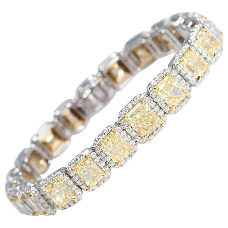 Yellow Radiant Diamonds and White Diamonds Bracelet Platinum and Gold