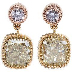 GIA Yellow Cushion and Round Pink Diamonds 3.25 Carat Dangling Gold Earrings