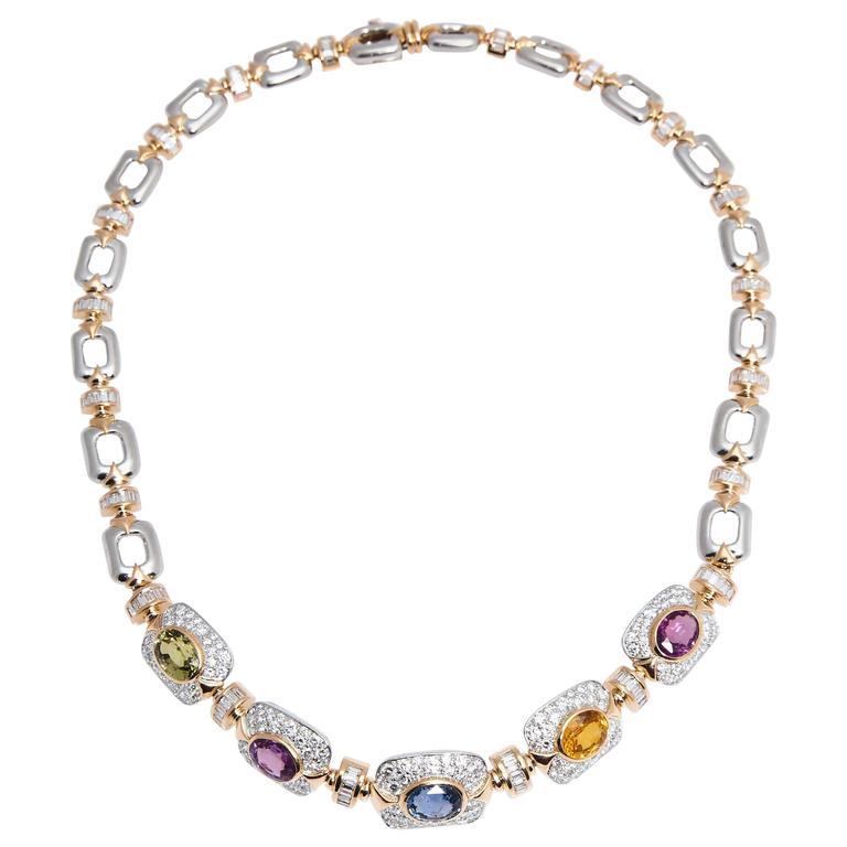 Marvin Schluger Multicolored Sapphire Diamond Gold Necklace