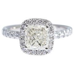 Cushion Diamond Gold Ring 1.50 Carat