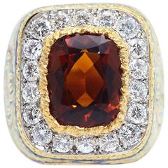 Cazzaniga Multi Color Enamel Citrine Diamond Gold Ring