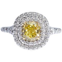 GIA Vivid Yellow Cushion Shaped Diamond Platinum Gold Ring