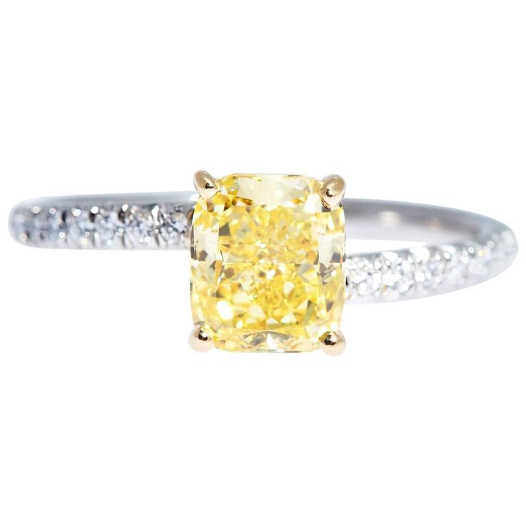 GIA Certified Fancy Vivid Yellow Cushion Cut Diamond Platinum Gold Ring