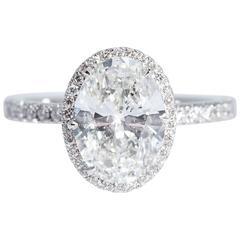 GIA Certified 3.01 Carat Oval Diamond Platinum Halo Engagement Ring