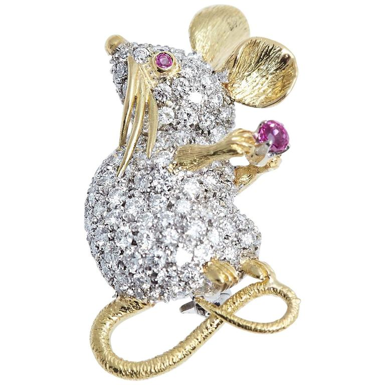 Tiffany & Co. Whimsical Mouse Diamond Ruby Brooch For Sale