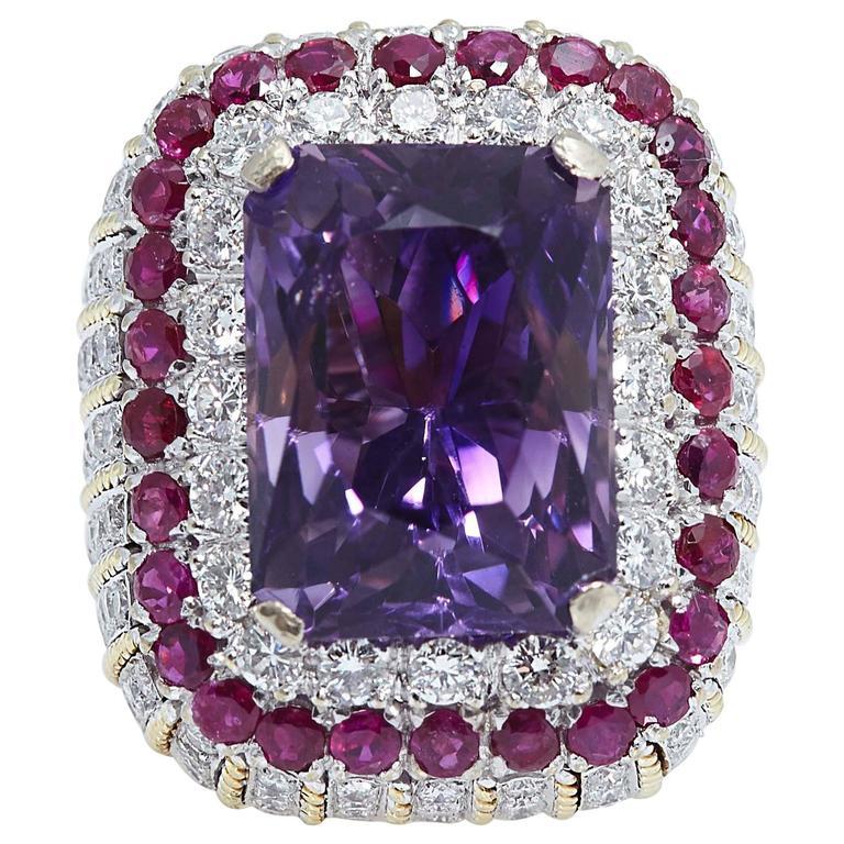 Amethyst Ruby Diamond Gold Ring