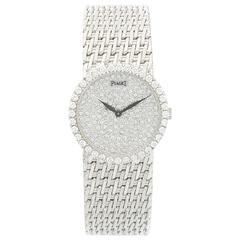 Piaget White Gold Pave Dial Manual Wind Bracelet Wristwatch