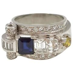 1930s Sapphire Diamond platinum Dress Ring