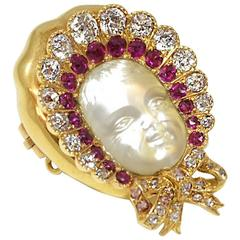 Antique Victorian Carved Moonstone ruby diamond gold Baby Brooch
