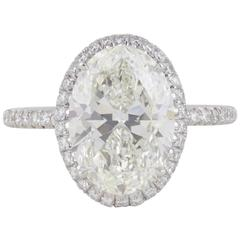 Perfect 4 carat GIA Certified Oval Diamonds Platinum Engagement Ring