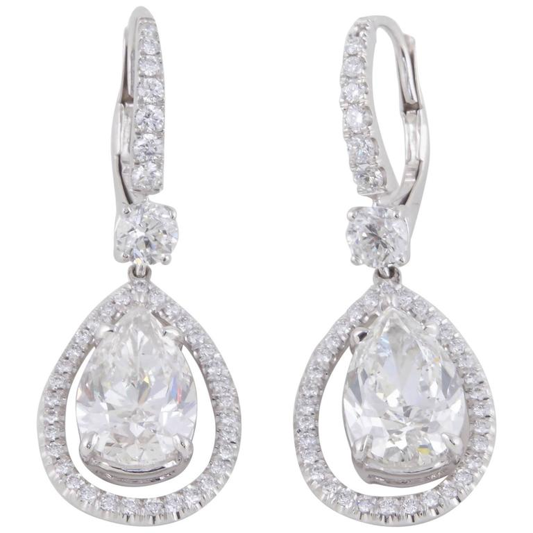GIA Certified Pear Shaped Diamond Drop Earrings  For Sale