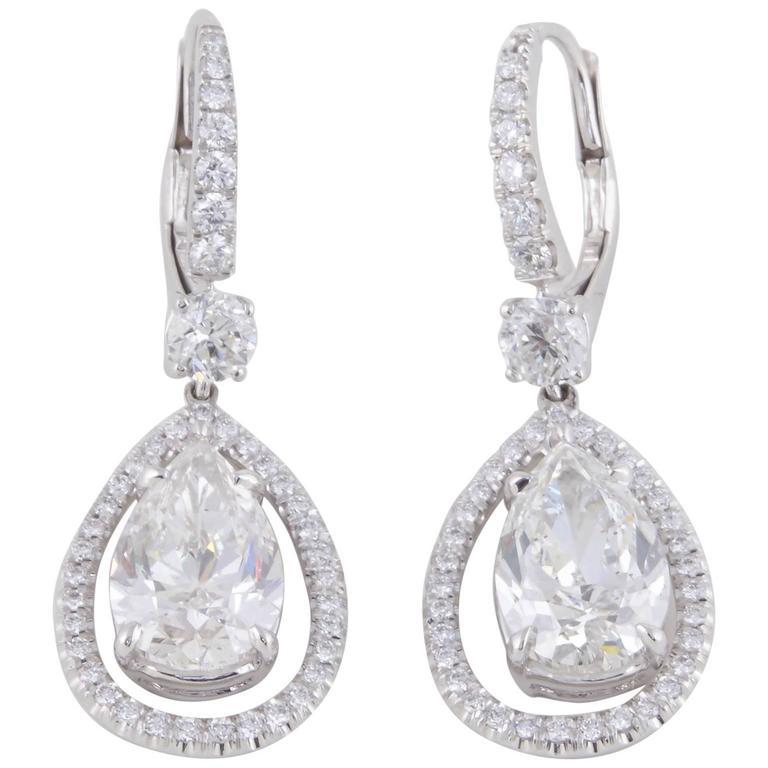 GIA Certified Pear Shaped Diamond Drop Earrings