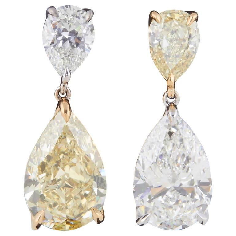 Incredible GIA Certified Yellow and White Diamond Two-Color Gold Earrings