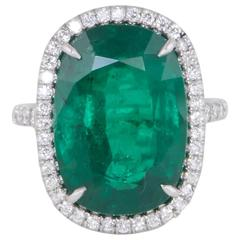 Fabulous Cushion Cut GIA Certified Green Emerald Platinum Ring
