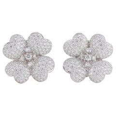 Diamond White Gold Flower Earrings