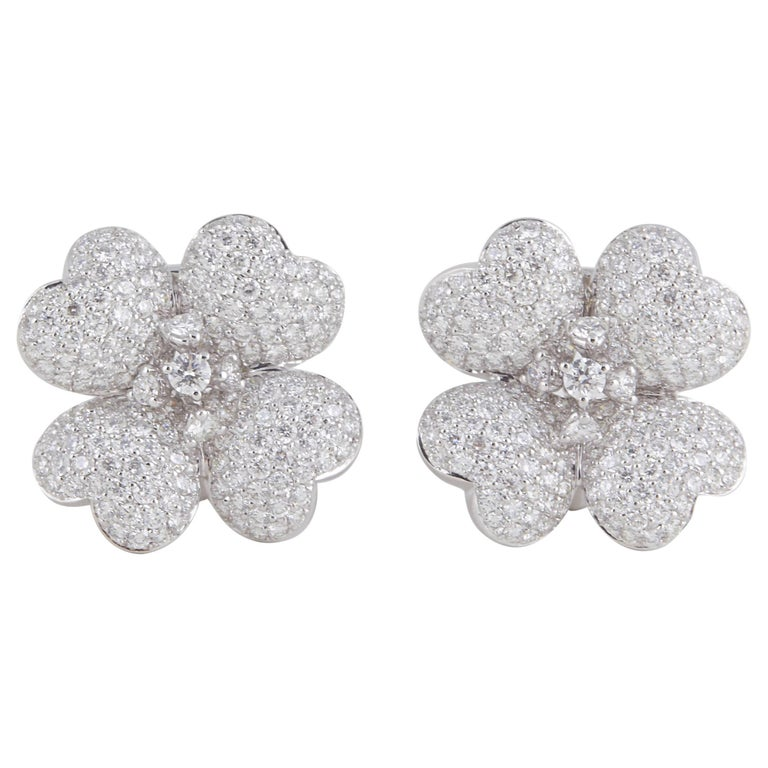 Diamond White Gold Flower Earrings For Sale