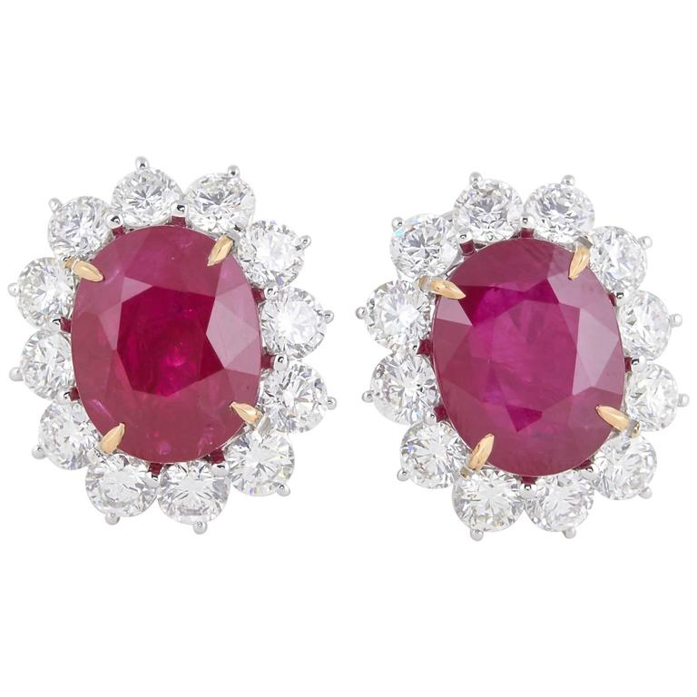 Vivid Red Ruby and Diamond Earrings