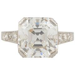 Art Deco 3.97 Carat Diamond Platinum Engagement Ring