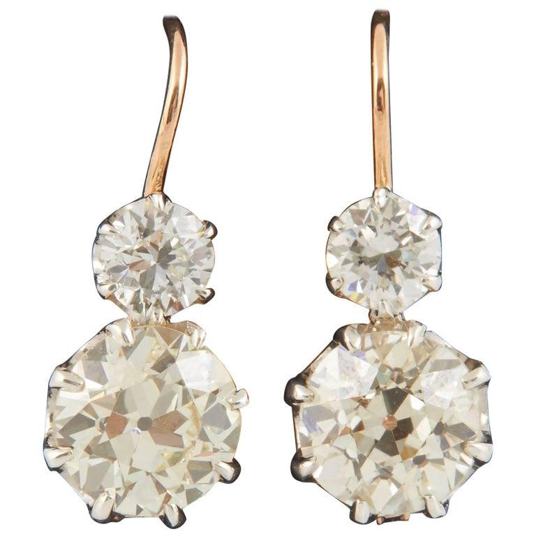 Victorian Diamond Twin Drop Earrings