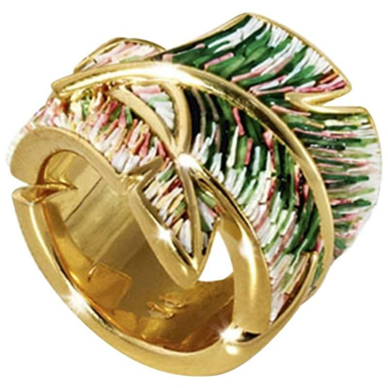 Sicis Piuma Gold Micromosaic Ring For Sale