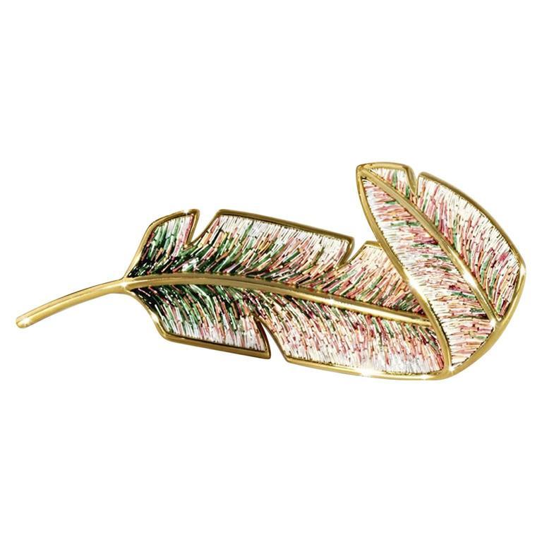 Sicis Piuma Gold Micromosaic Gold Brooch