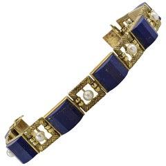 Lapis Lazuli Natural Pearl Gold Bracelet