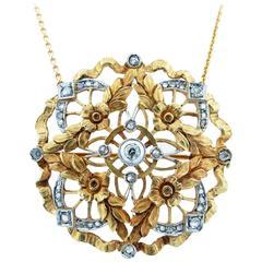 Antique Diamond yellow gold Brooch Pendant