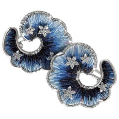 Sicis Jeux Du Contraire Diamond Blue Micromosaic Gold Earrings