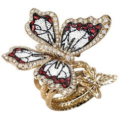 Stylish Butterfly Ring White Diamond Rose Gold Hand Decorated with Micromosaic