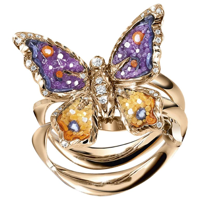 Sicis Small Butterfly Diamond Micromosaic Gold Ring For Sale