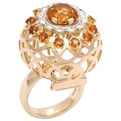 Mellerio Paris Woven Globe Citrine Diamond Ring Brooch Combo