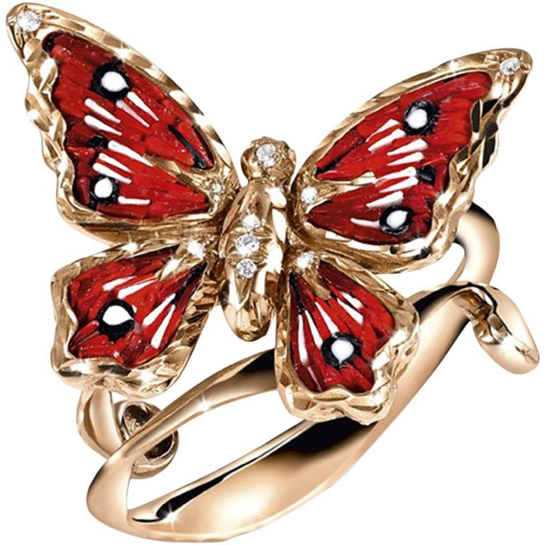 Sicis Small Butterfly White Diamond Rose Gold Ring