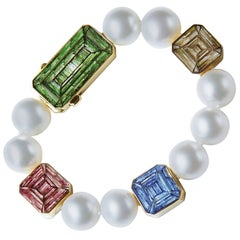 Stylish Bracelet Australian Pearl Yellow Gold Designed Roger Thomas NanoMosaic