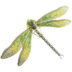 GIA Certified Diamond Sapphire Tsavorite Gold Dragonfly Brooch
