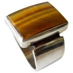 Jack Nutting Tiger Eye Sterling Silver Gentleman's Ring