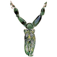 Stylish Necklace Yellow Gold  White Diamond Emerald Agate Decorated Micromosaic